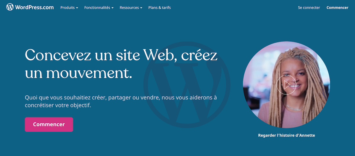 Page accueil wordpress.org